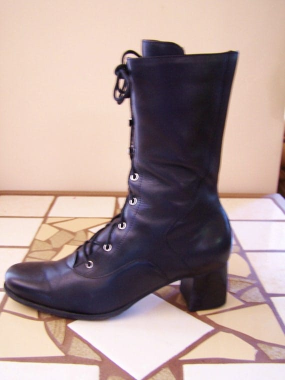 6.5 M Tall Ankle Boot Black Leather Lace Up Bootie shoe