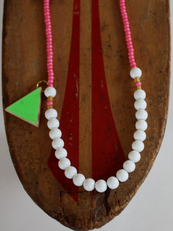 Recycled Skateboard  Necklace Triangle Cyclops Collection-Hot Pink and Neon Green