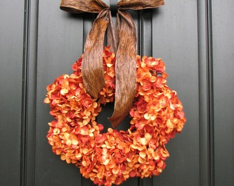 Pumpkin Pie - Thanksgiving Wreath - Fall Hydrangeas - Autumn Wreath - Wreaths - Hydrangea Wreath - Hydrangea Blooms - Wedding Decor