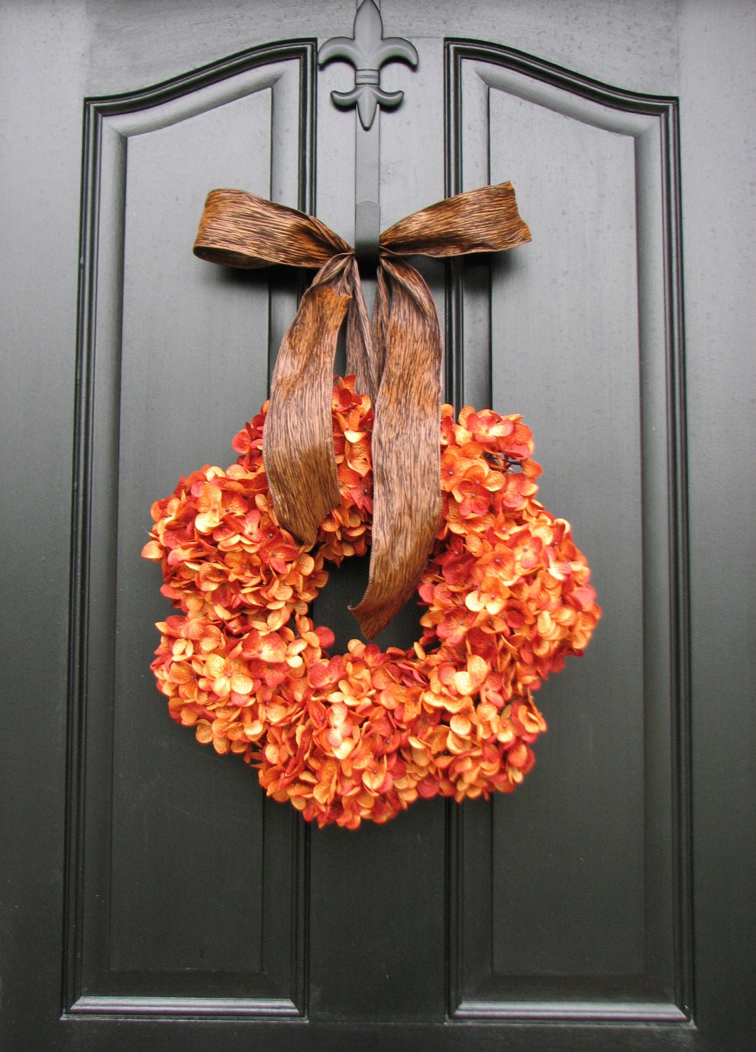 Pumpkin pie thanksgiving wreath fall hydrangeas by