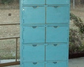 60 inch Tall Reclaimed Wood look Dresser Primitive Storage Cabinet Robins Egg Blue Closet Wood Locker TV stand console entertainment center
