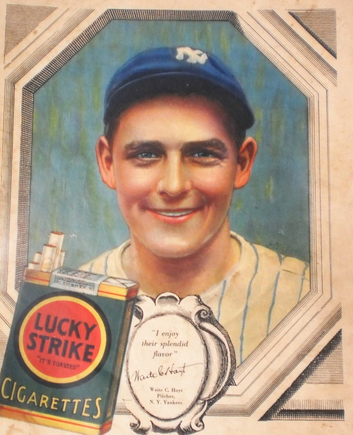 Waite Hoyt Ny Yankee Ad Baseball Star Lucky Strike Cigarette