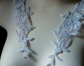 Silver Applique Beaded Pair for Lyrical Dance, Bridal, Headbands, Sashes, Costumes PR 130slvr
