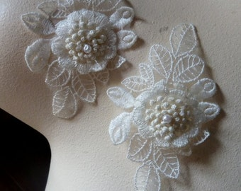 2 Ivory Lace 3D Appliques  for Bridal, Garters, Headbands, Sashes, Costume Design IA 117