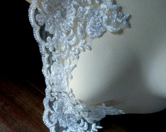 SALE Beaded Lace in Silver  with Faux Pearls for Bridal, Costume Design BL 2