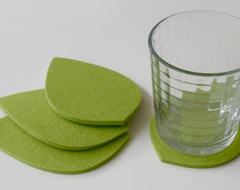 Naturals Leaf Drink Coasters 5mm Thick Merino Wool Felt Tropical Palm Leaves Coaster Set Spring Summer Tabletop Home Decor-Lime Green