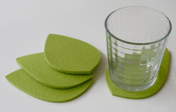 Greenery Botanical Leaf Drink Coasters 5mm Thick Merino Wool Felt Green Leaves Coaster Set Spring Unique Tabletop Home Decor Gift for her