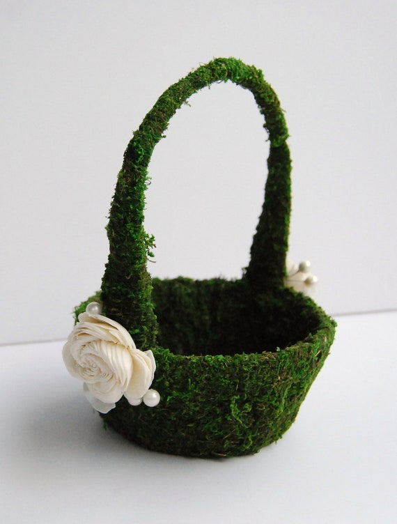 Flower Girl Basket Moss : Items similar to moss flower girl basket with ivory buds