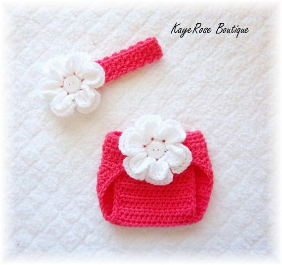 Newborn Baby Crochet Flower Headband & Diaper Cover Set Coral Pink and White