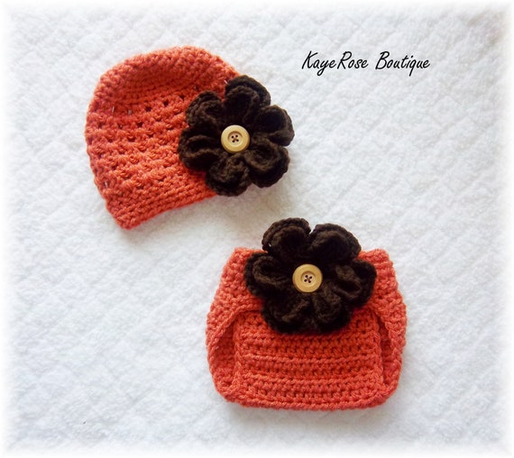 Baby Autumn Crochet Flower Hat & Diaper Cover Set Brown and Burnt Orange