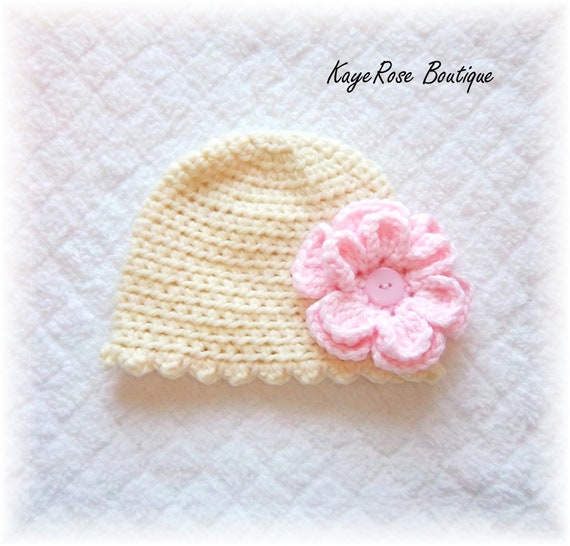 Baby Girl Chunky Crochet Flower Hat Cream and Pink 3-6 Months
