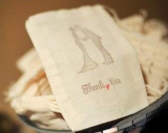 Handstamped Wedding Couple Silhouette and Thank You Cotton Bags, 4x6, Set of 50, Other quantities are available.