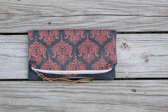 vintage waxed canvas foldover clutch utility bag zippered purse rustic wedding