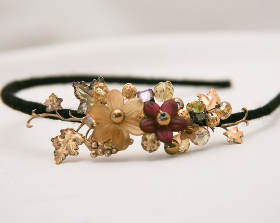 Vintage gold grapelaves and flower headband for adults and weddings