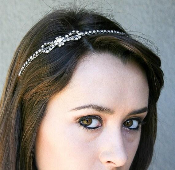 READY TO SHIP-Rhinestone headband, vintage rhinestones, wedding hair, new years eve party accessories