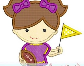GIRL FOOTBALL Fan  4x4 5x7 6x10 7x11  Machine Embroidery Design  INSTANT Download
