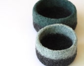 Turquoise Blue Two-Tone Felted Nesting Bowls