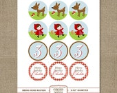 Printable 2 IN ROUND Little Red Riding Hood cupcake toppers personalized for birthdays, showers, parties