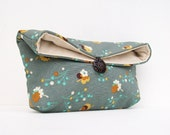 Gold Flowers on Blue Gray Clutch Purse, Makeup Bag, Bridesmaid Gift, Great for Travel, Gift Under 25, Makeup Costmetic Bag