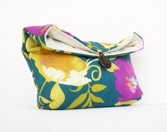 Navy Clutch, Gold and Purple Floral Clutch, Bridesmaid Gift, Bridesmaid Clutch Purse, Under 25, Makeup Bag