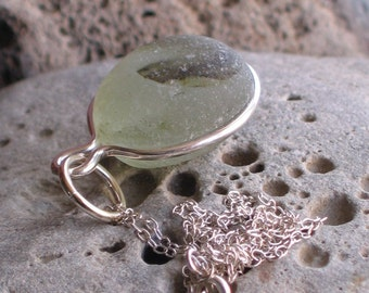 Natural Sea Glass Sterling Silver Pendant Necklace Olive Green Multicolor (507)