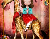 Fine Art Print - 'Little Debbie' - Little Girl on Carousel Giraffe Knitting - Cute Artwork Medium 8x10 or 8.5x11 or 11x17 or 13x19 - Pink