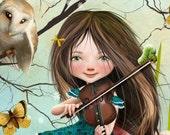 "5x7 Art Print ""Uma"" Dark Haired Girl playing Violin - Alice in Wonderland Themed Painting Premium Giclee Fine Art Print"
