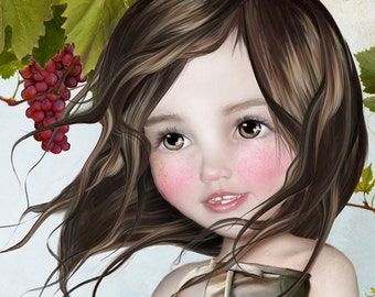 """5x7 Fine Art Print - """"sombrer dans"""" - Little Vineyard Girl - Dark Brown Haired Girl with Red Grapes - Art by Jessica Grundy"""