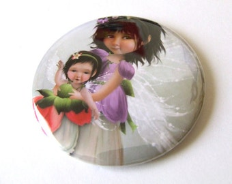 First Flight Pocket Mirror 2 1/4 inches with organza bag Made from Original Art Print