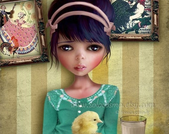 """Art Print - """"Chicken"""" - 8.5x11 or 8x10 Medium or 11x17 Sized Fine Art Print - Girl and Baby Chick - Lowbrow Artwork by Jessica Grundy"""