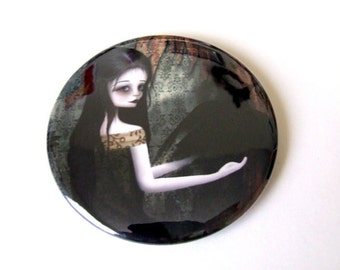 "Pocket Mirror ""Lenore"" 2 1/4"" Round Compact Mirror - Edgar Allen Poe The Raven - Gothic Lolita Woman and Black Bird"