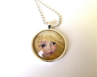 """Art Necklace """"Summer"""" Real Glass Pendant Made From Original Art Print 1 inch Sized with Organza Bag"""
