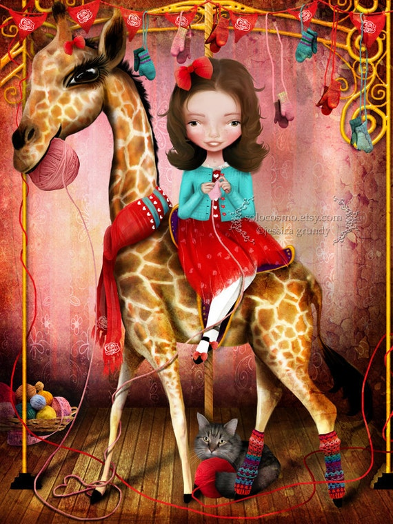 Fine Art Print - 'Little Debbie' - Little Girl on Carousel Giraffe Knitting - Cute Artwork Medium 8x10 or 8.5x11 - Pink Red Blue
