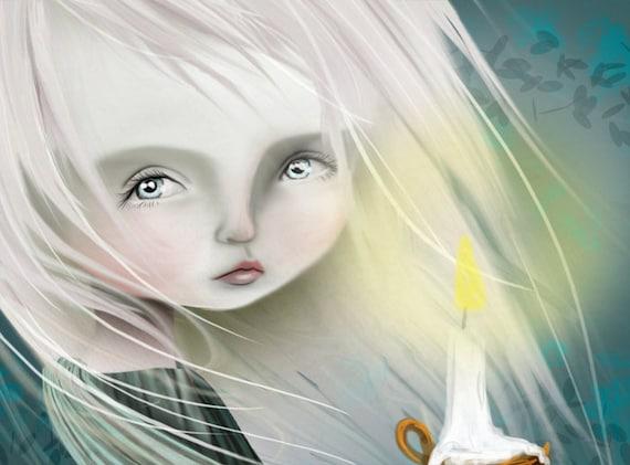 5x7 Fine Art Print - 'Haunt' - Cute Little Ghost Girl - Small Sized Art Print by Jessica Grundy