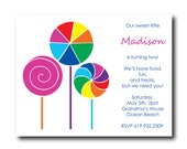25 Children's Birthday Party Invitations with Candy Lollipop Design
