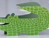 Chunky Little alligator card, green, textured, children's card, stand up, baby boy, paper