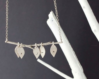 Family Tree Necklace, The Original - Custom Lower Case Initials with Five Leaves- Modern Initial Branch Necklace