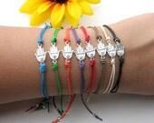 hamsa hand charm with swarovski crystal on hemp cord - silver hamsa- arm candy - hamsa hand jewelry - friendship bracelet - evil eye