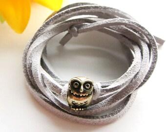 owl wrap bracelet - bronze owl charm with suede leather cord bracelet - wisdom owl bracelet - friendship bracelet - inspirational bracelet