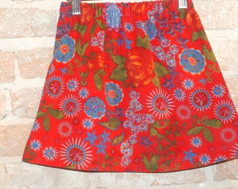 Whimsical European Red Floral Corduroy A-line Skirt - modern toddler girls clothing - kids winter fall fashion - sizes 2T 3T 4 5 6