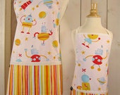 Full Aprons - Robots Mommy and Me (kid size) Matching Apron Set - reversible aprons