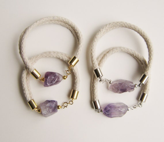 Amethyst and Rope Bracelet. Silver.
