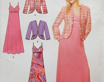 Misses dress and jacket pattern, summer dress with strips, Simplicity 4214, Sizes from 10 to 20, UNCUT