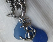 Sea Glass Pendant Necklace-Mermaids Tears and Tails- Cobalt and Cornflower Blue