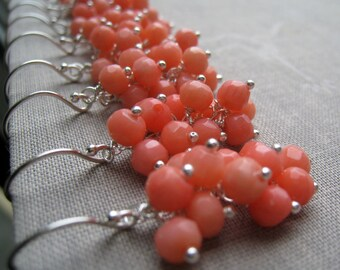 Bridesmaid Coral earrings, set of 3 bridesmaid gift, pink coral dangle, cluster style, bridal party, spring wedding