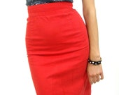 80s red pencil skirt S high waist cotton