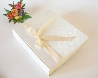 Photo album - ivory brocade with satin ribbon - 8x10in  20.5x24.5cm - Ready to ship