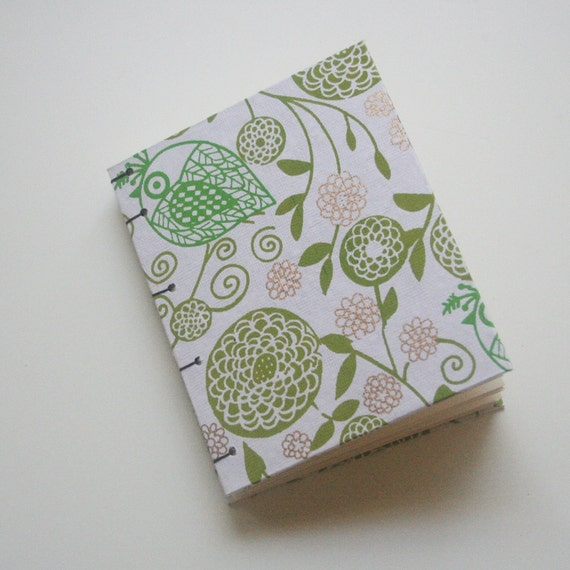 SALE green and copper floral coptic sketch journal, cream pages