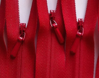 INVISIBLE Zippers 16 Inch YKK Color 519 Red 10 Pieces