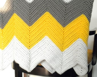 Chevron Afghan in Cottage Chic - White Yellow and Gray